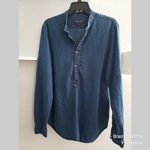 ZARA MAN Slim Fit Blue Denim Linen Buttoned Top